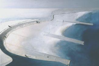 Zandbanken wolkenluchten zee